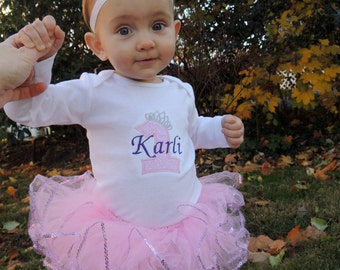 Personalized Baby Girl's First Birthday Tiara Princess Bodysuit Tutu Set 1st (2nd also available)