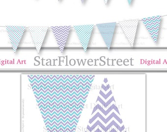 Purple Turquoise Bunting Banner Polka Dot Chevron pennant flags printable digital instant download DIY photography props party decoration