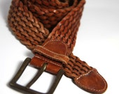 Woven Leather Belt Soft Pliable Hippy Casual Woven Wide Brown Leather Highly Adjustable Belt - for Men or Women S M L