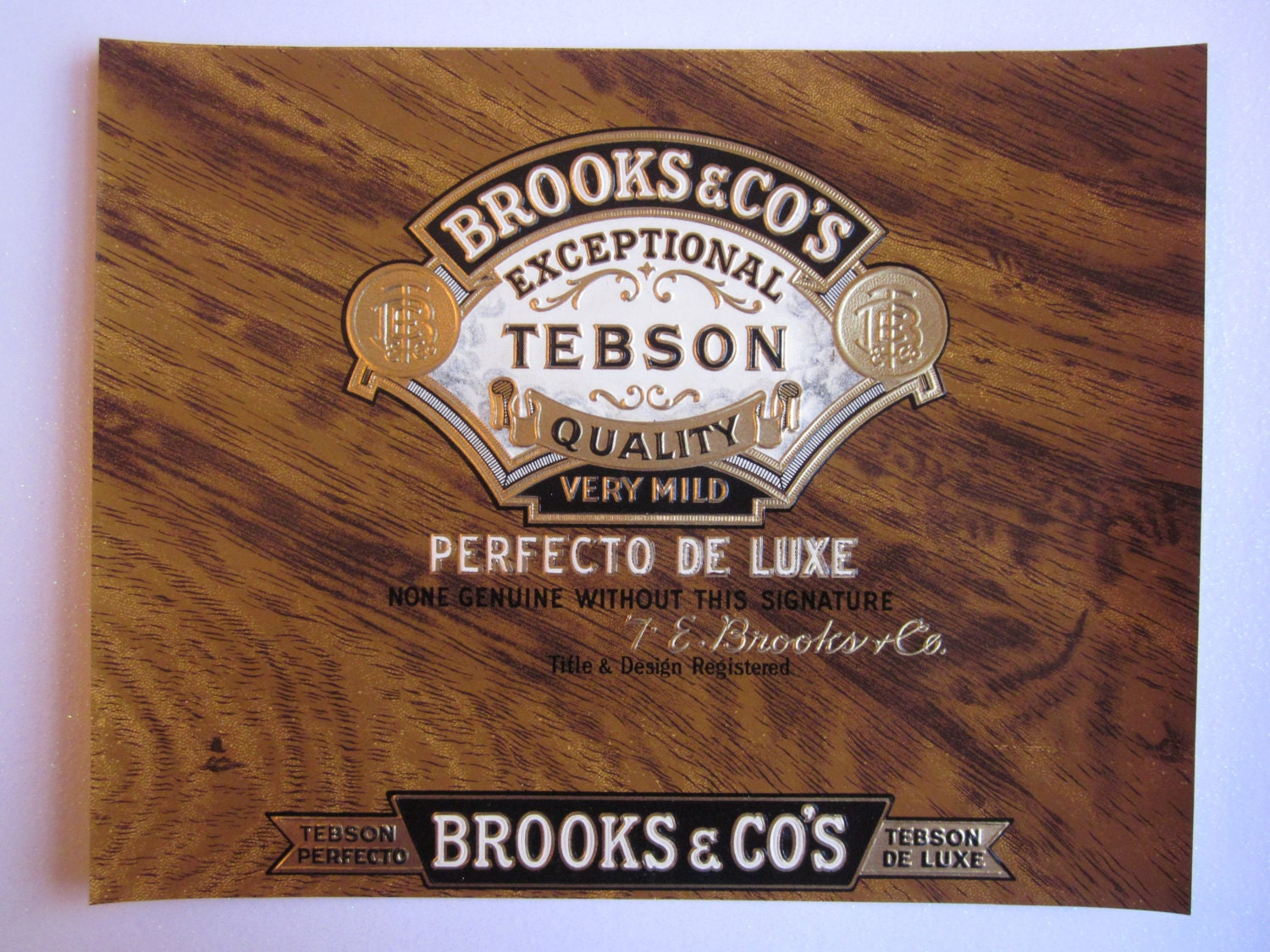 Box Label: Vintage Original Cigar Box Label Brooks & Co's Tebson