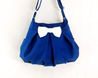 Handbags Canvas Bag Diaper bag Shoulder bag Hobo bag Tote bag Messenger bag Purse Everyday bag Bow bag  Dark Blue  Cheryl