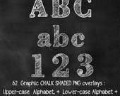 INSTANT DOWNLOAD! PNG Chalk Shaded Alphabet Letters + Numbers Graphic Overlays Elements for Scrapbooking, Photography, and Transfer Projects