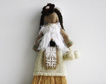 Primitive Decorative Doll, Pumpkin, Hand Made, Whisk Burlap Doll,Wool  Upcycled Fabrics Hostess Housekeeper Rustic Country Halloween OOAK