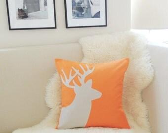 Orange Deer Pillow Cover