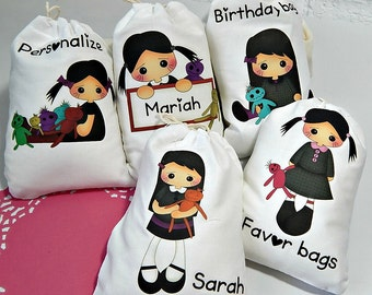 """Zombie girl Birthday Favor Bags Goth girl with Zombie friends Personalized Treat or Gift Bags 5"""" X 7"""" or 6"""" X 8""""  Qty 5"""