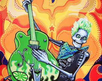 80s Skeleton Rocker Guitar Player Art Print Day of the Dead by Bones Nelson