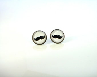 18mm Mustache Earrings, Black Mustache Post Earrings, Mustache Stud Earrings, 18mm Mustache Studs Mustache Jewelry, Black and White Earrings