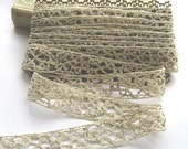 French Vintage Handmade Linen Edging/Lace/Insert - 25mm wide/4 metres