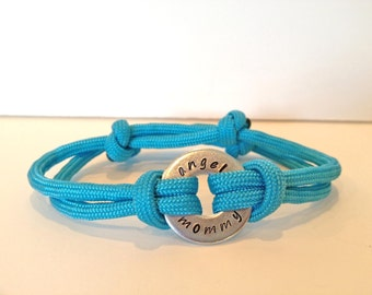 Angel Mommy / Daddy - Personalized One Washer Double Strap Paracord Bracelet