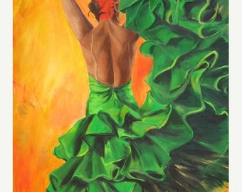 Flamenco dancer art print on paper -  flamenco dancer in green ruffled dress  with orange background -Christmas gift  under 50