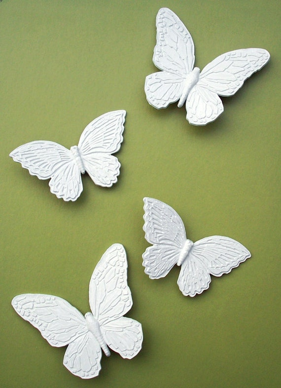 White Butterfly Wall Decor Target : Set of white butterflies wall decor hangings by