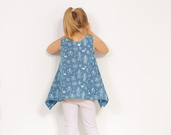 Retro SHIRT pattern - pdf toddler sewing tutorial - 2 to 9 years