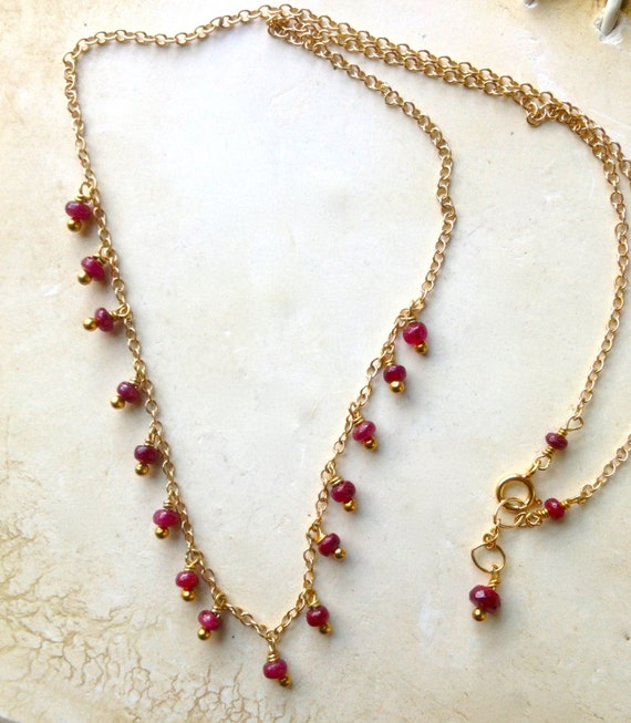 Genuine Ruby Necklace  Dangle  July birthstone , Wedding , Bridal,  Gift for Her Minimalist , Layered Silver or Gold