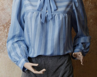 Baby Blue Striped 70s Secretary Blouse S | M