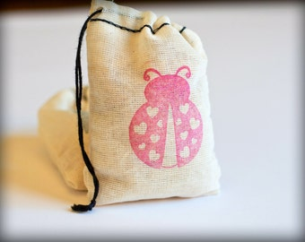 Ladybug Love muslin cotton favor bag 6 2.75X4 with stamp gift sack nature wedding girl party lady bird Valentine's
