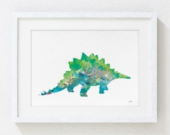 Green Stegosaurus, Dinosaur Print - Art Watercolor Painting, 5x7 Archival Print - Dinosaur Art Print - Kids Wall Art, Wall Decor, Wall Art
