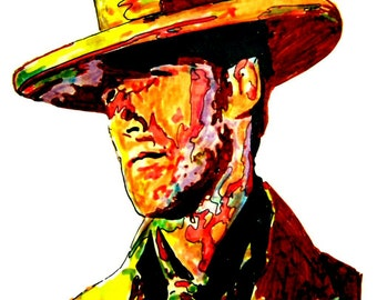 """Clint Eastwood: POSTER from Original Dwg 18"""" x 24"""" Signed & Dated by Artist w/COA"""