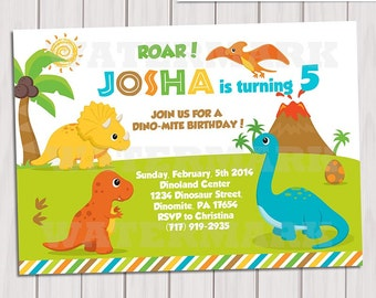 Dinosaur Birthday Party Invitations Personalized Printable