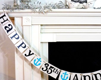 Happy Anniversary Banner Sign / Party Prop -/SiIver, Golden Anniversary Decoration 20th, 25th, 30th, 35th, 40th, 45th, 50th