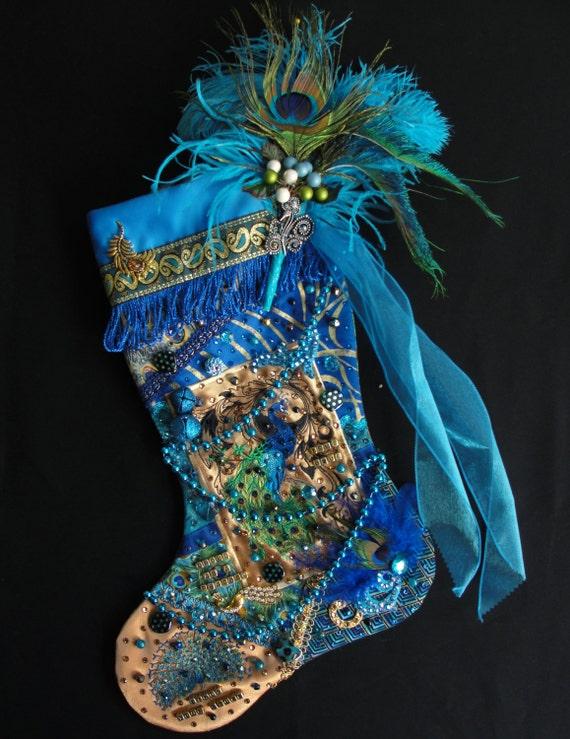Peacock christmas stocking a custom handmade one of a kind for Custom made christmas stockings