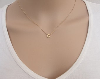 Gold Initial Necklace, Small Gold Initial Necklace , Gold Letter Initial - 14 KT Gold Fill Chain.