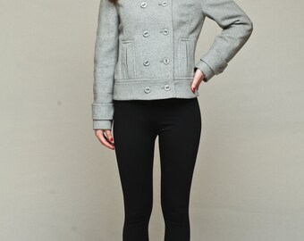 Double breasted coat / short grey coat / grey wool coat / grey cashmere coat / women spring jacket