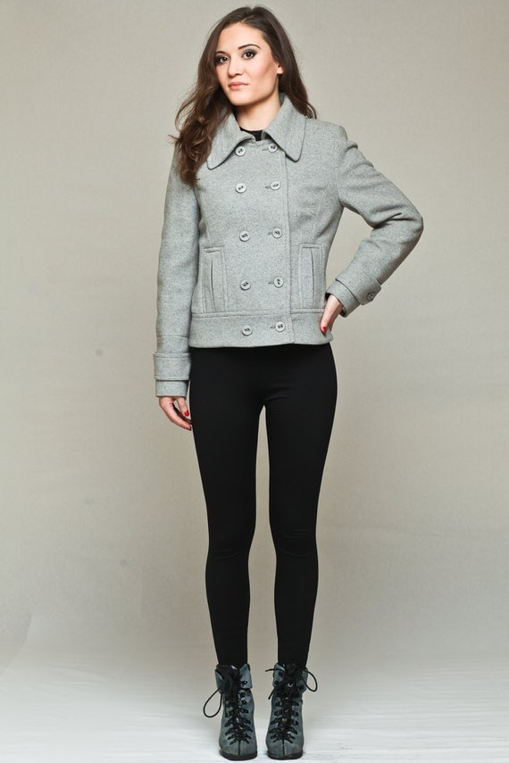 Double breasted coat / short grey coat / grey wool coat / grey