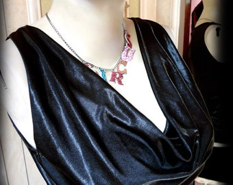 Witch sexy night VENUS drape TOP ... very exciting and different black diy. Witch Dramatic. Handmade to your size. Morticia cowl neck fetish