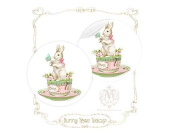 "Rabbit, sticker, pink, roses, teacup, tea party, teacup, baby shower, Easter, Paris, green, glossy, circle sticker, 2.25"" diameter"