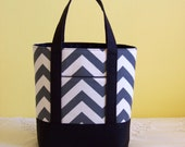 BIBLE TOTE Journaling Bible Tote Perfect Size for your Bible, Journal, Pens, Study guides. Charcoal grey Chevron Black Canvas