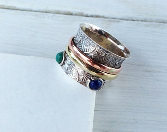 Sterling Silver Wide Band Ring, Boho Statement Ring with Spinner Bands and Stones, Handcrafted Two Tones Silver Gold Ring, Women Ring