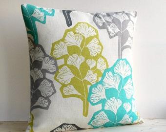 Contemporary Pillow Cover, Green and Gray Pillow, Modern Cushion Cover, Linen Cotton Pillow Sham - Gingko Fresh