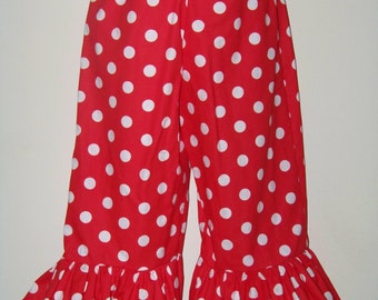 Boutique Ruffle Pants or Shorts / Red / Polka Dots / Minnie Mouse / Disney / Birthday / Newborn / Baby / Girl / Toddler / Boutique Clothing