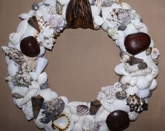 Shell wreath - 13 inch wreath - seashell wreath - beach wreath- coastal wreath - Christmas wreath
