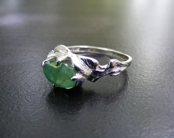 15% Off Sale.S299 Made to Order...New Sterling Silver Floral Design Ring with 2 Carat Natural Emerald Gemstone