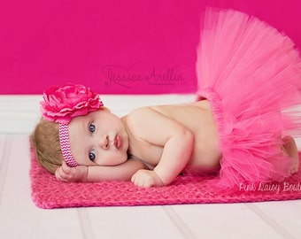Tutu and Headband Set. Pink Tutu Set.  Birthday Tutu Set.  Photo Prop Tutu Set.  Baby Tutu Set.  Newborn Tutu Set. Baby Girl Tutu Set.