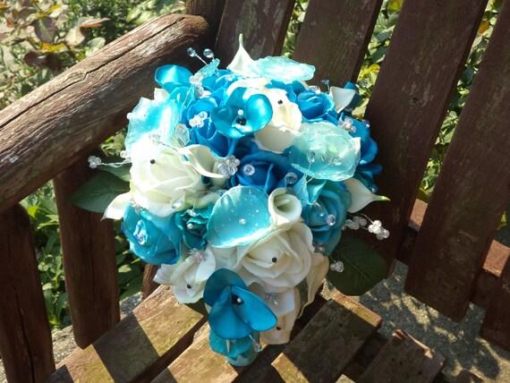 Pool blue wedding bouquets : Real touch rose blue cascading silk bridal bouquet aqua