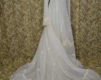 "Vintage 1970s Long Sleeve White Nylon Ruffles and Flounce Wedding Dress w 70"" Train, ILGWU"
