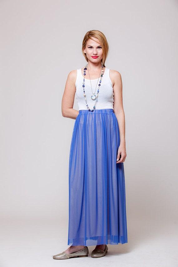 Blue Women Skirt Long chiffon Skirts maxi long by Almogdesigns