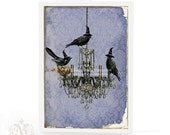 Halloween card with crows, vintage chandelier silhouette, Murder of Crows holiday greeting