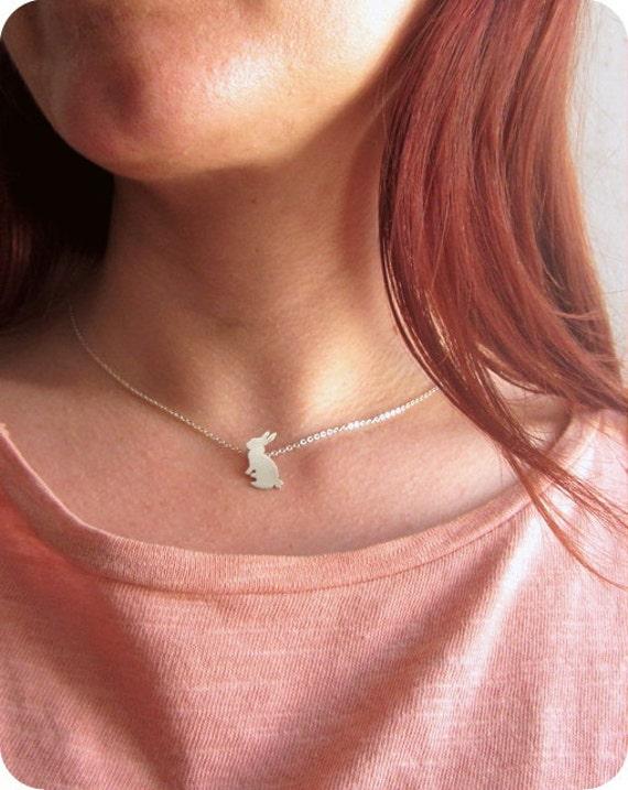 Bunny necklace-Easter gift-Easter basket gift-Silver bunny necklace-Rabbit necklace-Bunny pet