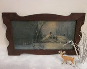 vintage Winter art print, Distressed shabby scalloped wood frame. Title: There's No Place Like Home. House, Woods, Moonlight, Snow.  Gallery