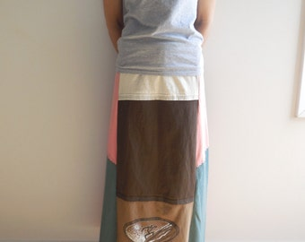 Long T Shirt Skirt Womens Tee Skirt Multi Color Skirt Recycled Clothing Cotton Skirt Handmade Skirt Fall Autumn Skirt ohzie