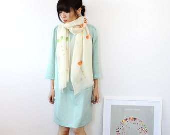 Hand Painted Paddy Long Off-white Fine Wool Scarf