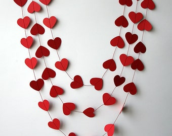 Valentines Day Decor Valentine Heart Garland Paper