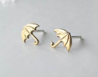 Umbrella Stud Earrings, Autumn Jewelry, Weather Rain Earrings, Sterling Silver, Tiny Stud Earrings, Hypoallergenic Earring Studs (E184)