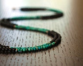 Onyx and Turquoise hand knotted necklace - Black and teal striped long necklace  ////   B L A C K B E R R Y