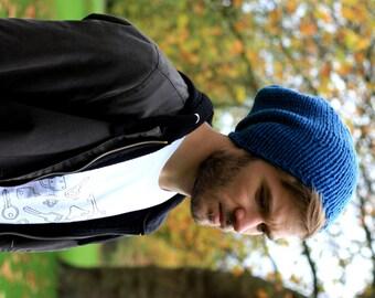 Men's Slouchy Beanie, Men's Knitted Hat, Mens Slouchy Beanie, Slouchy Hat, Hand Knit Hat for Men Slate Blue