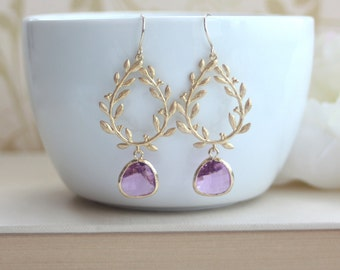 Laurel Wreath Jewelry, Lilac Purple Glass. Purple and Gold Wedding. Bridesmaid Gift. Boho Laurel Wreath, Leaf Earrings, Lavender Wedding,