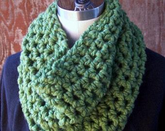 GRASS GREEN COWL crochet cowl scarf neck warmer green neckwarmer hand crocheted cowl scarf acrylic wool blend chunky cowl green scarf women